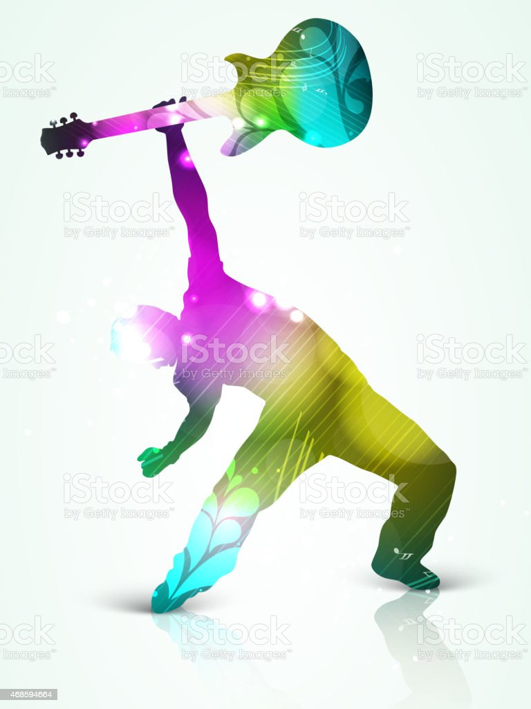 Man dancing and playing guitar. vector art illustration