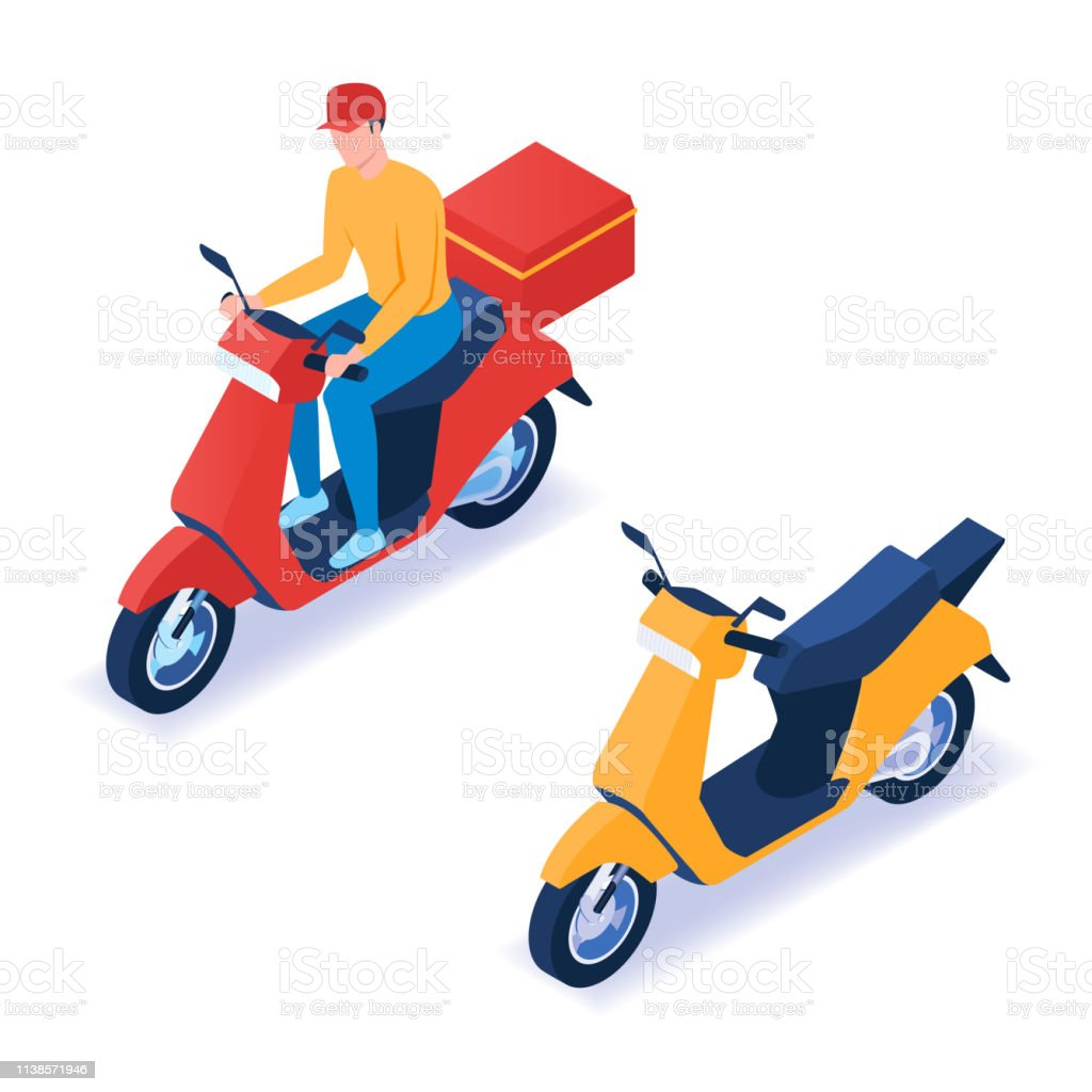 Man delivering pizza on scooter. Isometric vector illustration