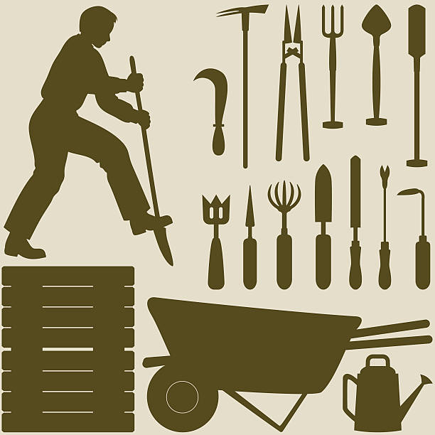 man digging and garden tools silhouettes - composting stock illustrations