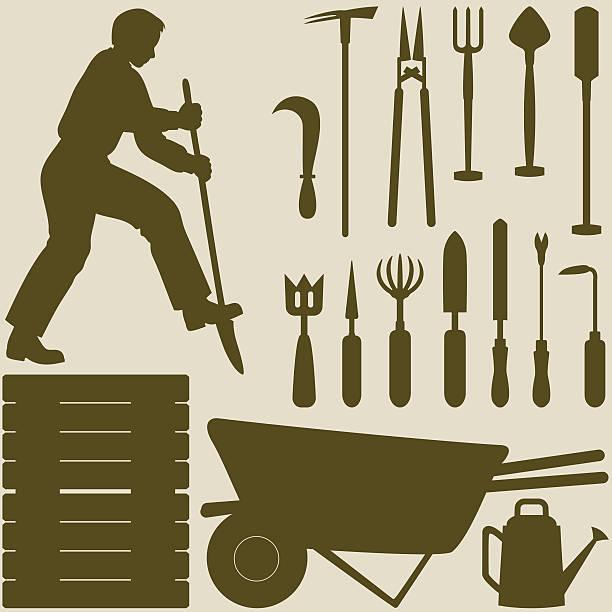 illustrazioni stock, clip art, cartoni animati e icone di tendenza di uomo di scavare e giardino strumenti modelli - composting