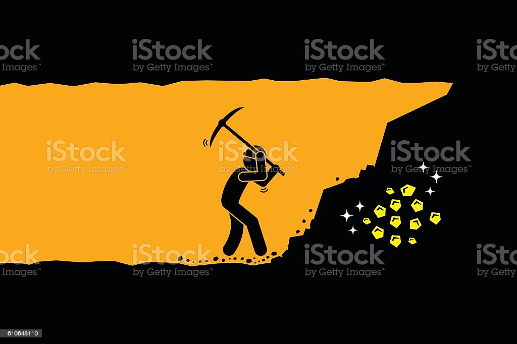 Man digging and mining gold in an underground tunnel vector art illustration
