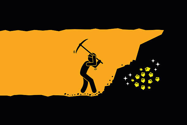 Man digging and mining gold in an underground tunnel Person worker digging and mining for gold in an underground tunnel. Vector artwork depicts hard work, success, achievement, and discovery. antiquities stock illustrations