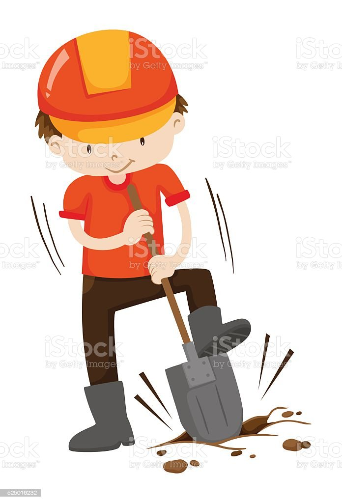 Man digging hole on the ground vector art illustration