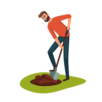 Man digging hole on the ground