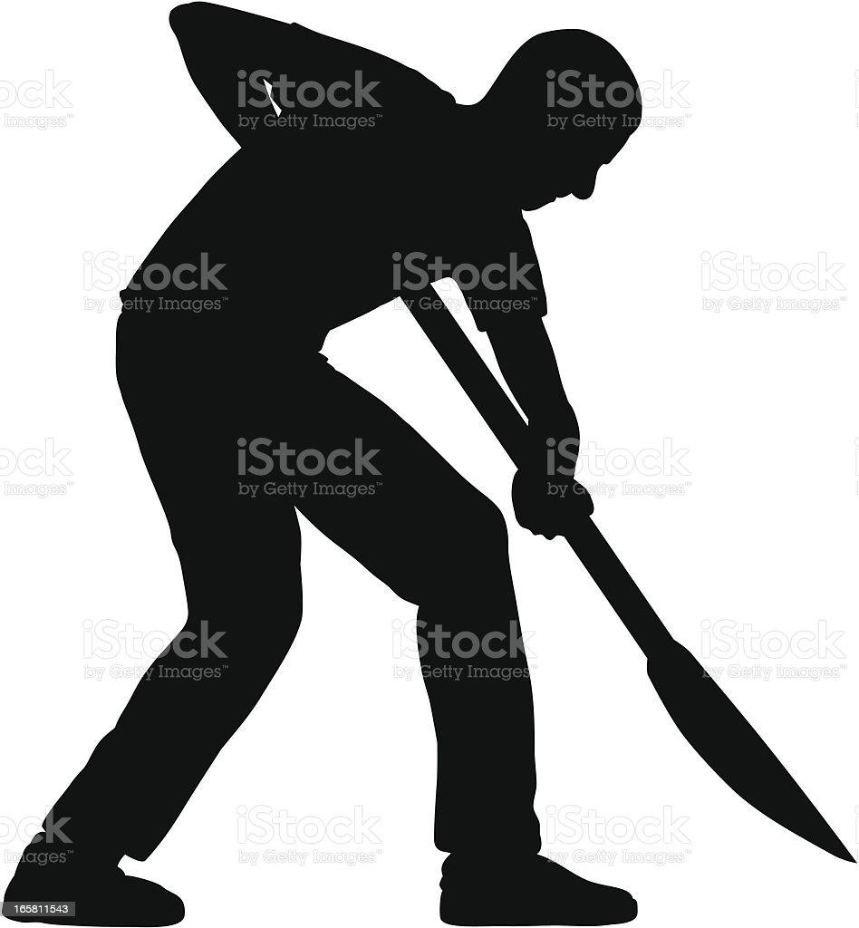 Man Digging vector art illustration