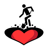 Man digs in the earth heart. Funeral of love.