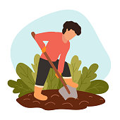 istock Man digs soil with shovel on farm. Person in protective gloves and boots grows organic food. Concept of eco-farming, hard labor on country. Vector flat modern illustration. Preparing dirt for planting 1221447851