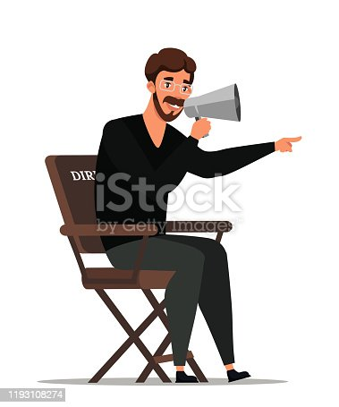 Man director screenwriter talking in megaphone sitting on chair. Filming process. Movie making. Film shooting. Cinema or theatre. Flat character. Vector cartoon illustration isolated on white