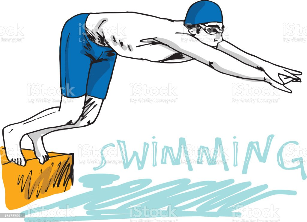 Man Diving Into Water royalty-free stock vector art