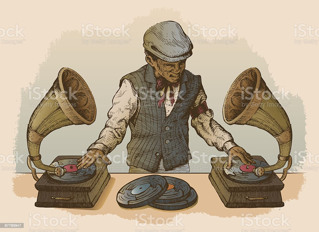 Man DJ Using Antique Record Players as Turntables royalty-free stock vector art