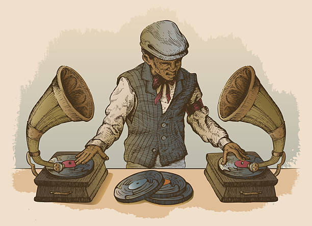 Man DJ Using Antique Record Players as Turntables vector art illustration