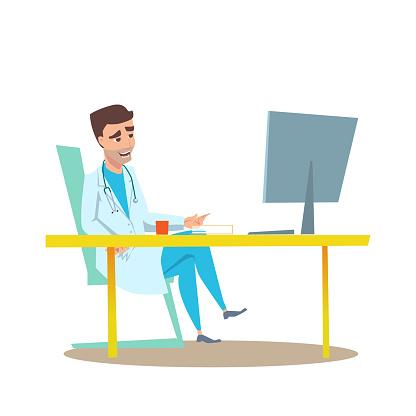 Man Doctor in Office Interior Flat Illustration.