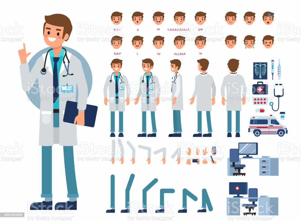 man doctor vector art illustration