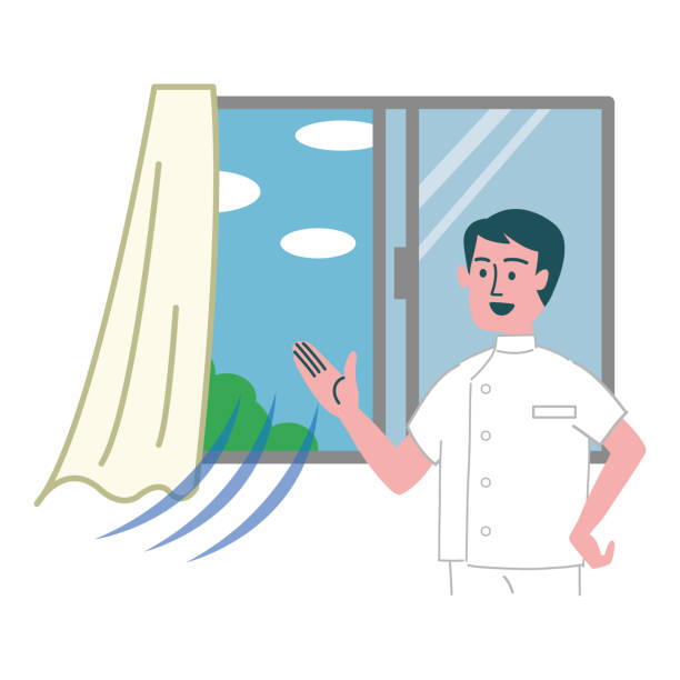 mann arzt beatmung illustration fenster geöffnet - lüften stock-grafiken, -clipart, -cartoons und -symbole