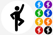 Man Does Sport Stretching.The icon is black and is placed on a round blue vector button. The button is flat white color and the background is light. The composition is simple and elegant. The vector icon is the most prominent part if this illustration. There are eight alternate button variations on the right side of the image. The alternate colors are orange, red, purple, yellow, black, green, blue and indigo.