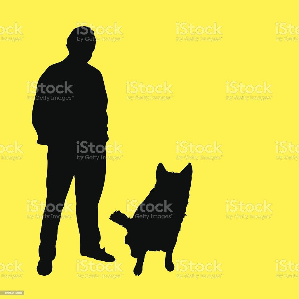 Man & Dog Silhouettes (vector illustration) royalty-free stock vector art