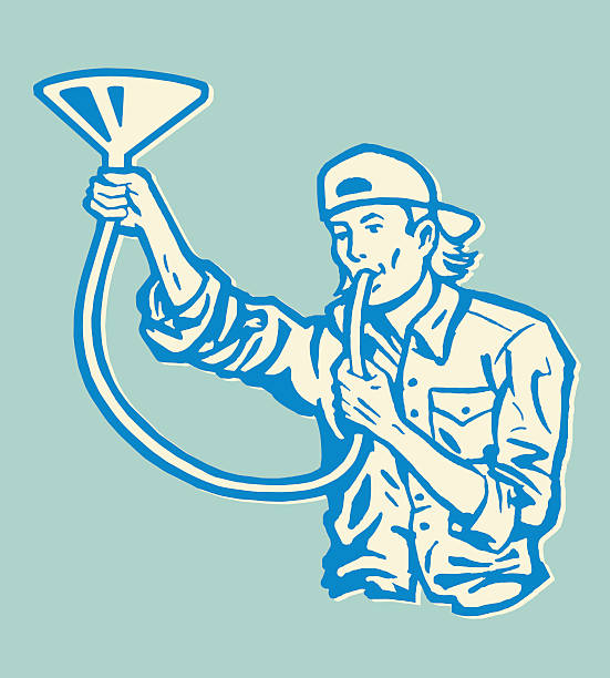 man doing a beer bong - bachelor party stock illustrations, clip art, cartoons, & icons