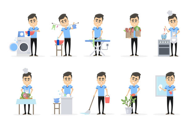 mann tut haushalts-set - hausmannskost stock-grafiken, -clipart, -cartoons und -symbole