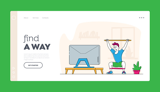 Man Doing Morning Exercises or Stretching Workout at Home Landing Page Template. Male Character Healthy Lifestyle