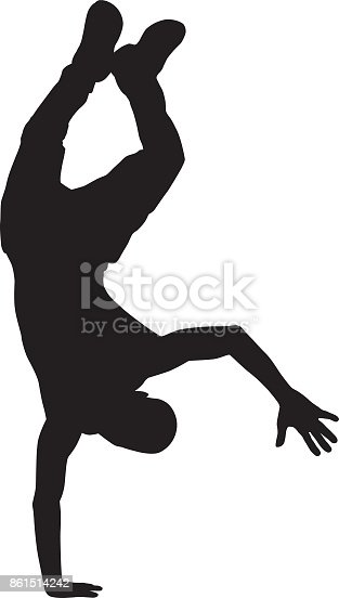 Vector silhouette of a man doing a one armed handstand.