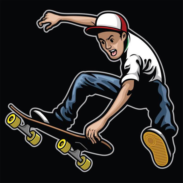 bildbanksillustrationer, clip art samt tecknat material och ikoner med man gör skateboard knep stunt - skatepark
