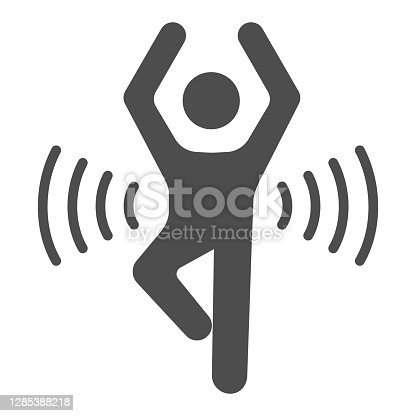 istock Man doing sport solid icon, healthy lifestyle concept, life without drug sign on white background, human health energy icon in glyph style for mobile concept, web design. Vector graphics. 1285388218