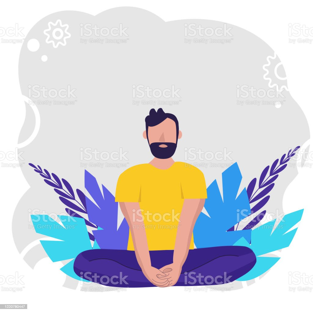 Man Doing Yoga For Yoga Day Celebration On Background In Nature Concept Illustration For Yoga Meditation Relax Recreation Healthy Lifestyle Vector Illustration In Flat Creative Poster Or Banner Stock Illustration Download