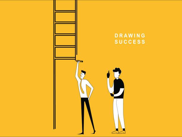 bildbanksillustrationer, clip art samt tecknat material och ikoner med man ritade stege - graphs animation
