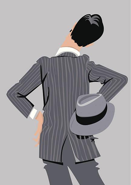 Estilo de hombre vestido 20 s back observando atentamente. - ilustración de arte vectorial