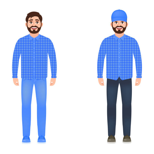 a man dressed in jeans, a plaid shirt, and a cap, a happy bearded guy, a character in a cartoon style. - plaid shirt stock illustrations