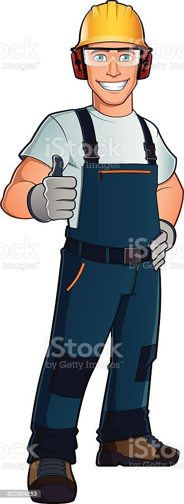Man dressed in work clothes vector art illustration