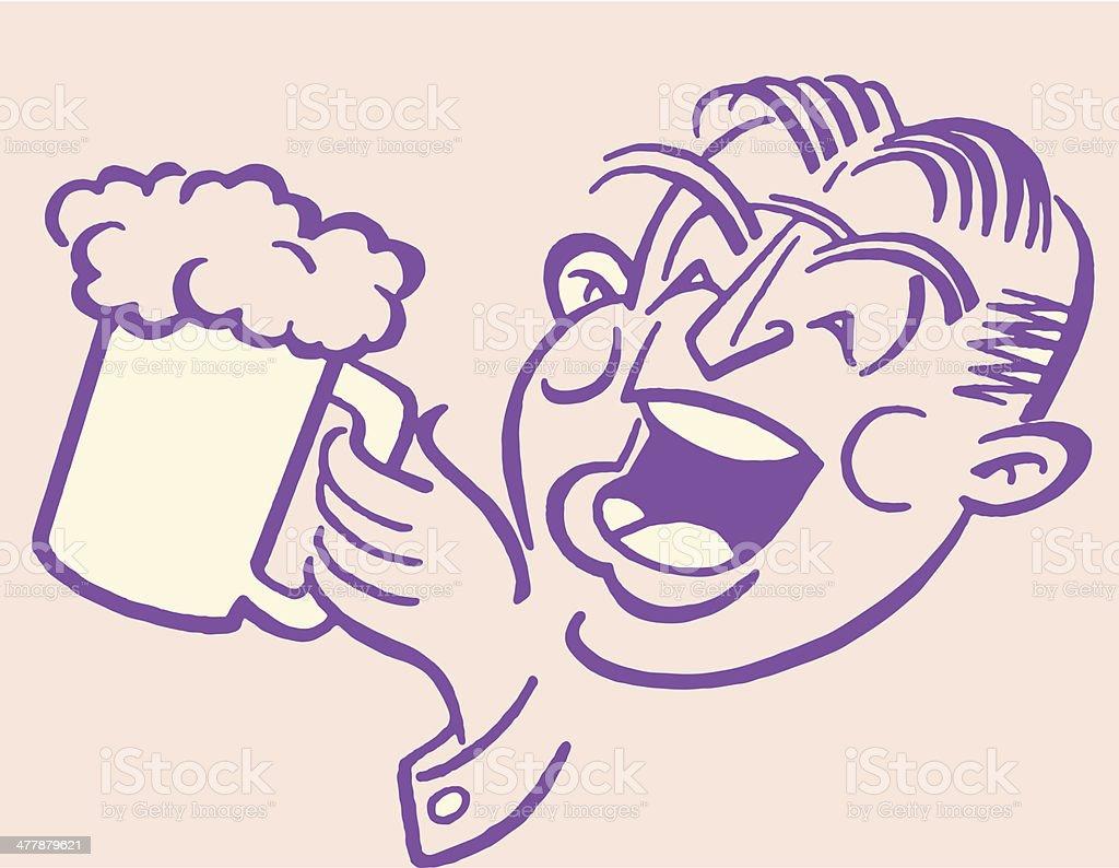Man Drinking Mug of Beer royalty-free man drinking mug of beer stock vector art & more images of adult