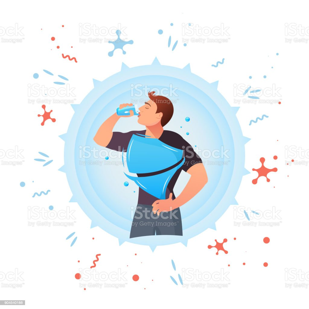 Man drinks water. Protection against germs vector art illustration