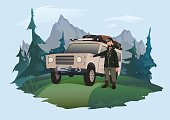 istock Man driver stands next to the SUV on a forest road. Off roadinging emblem. Traveling by off-road car. Vector isolated illustration. 918426764