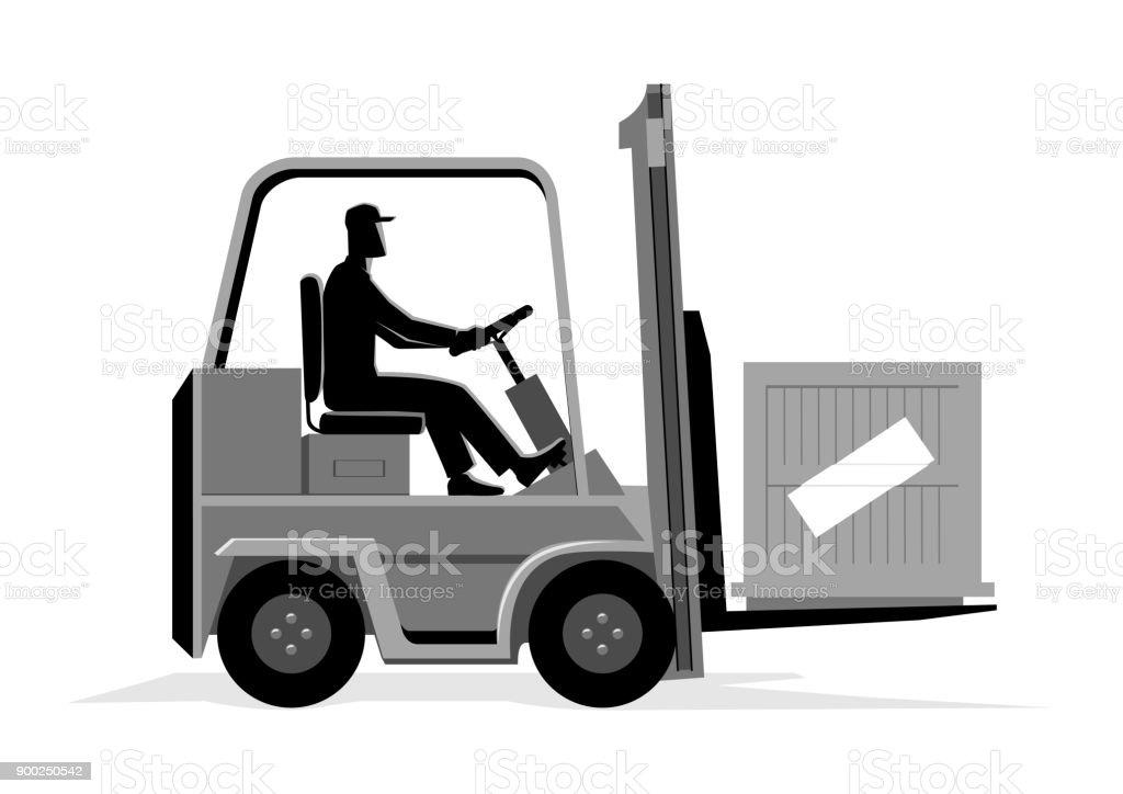 Homme au volant d'un chariot élévateur - Illustration vectorielle