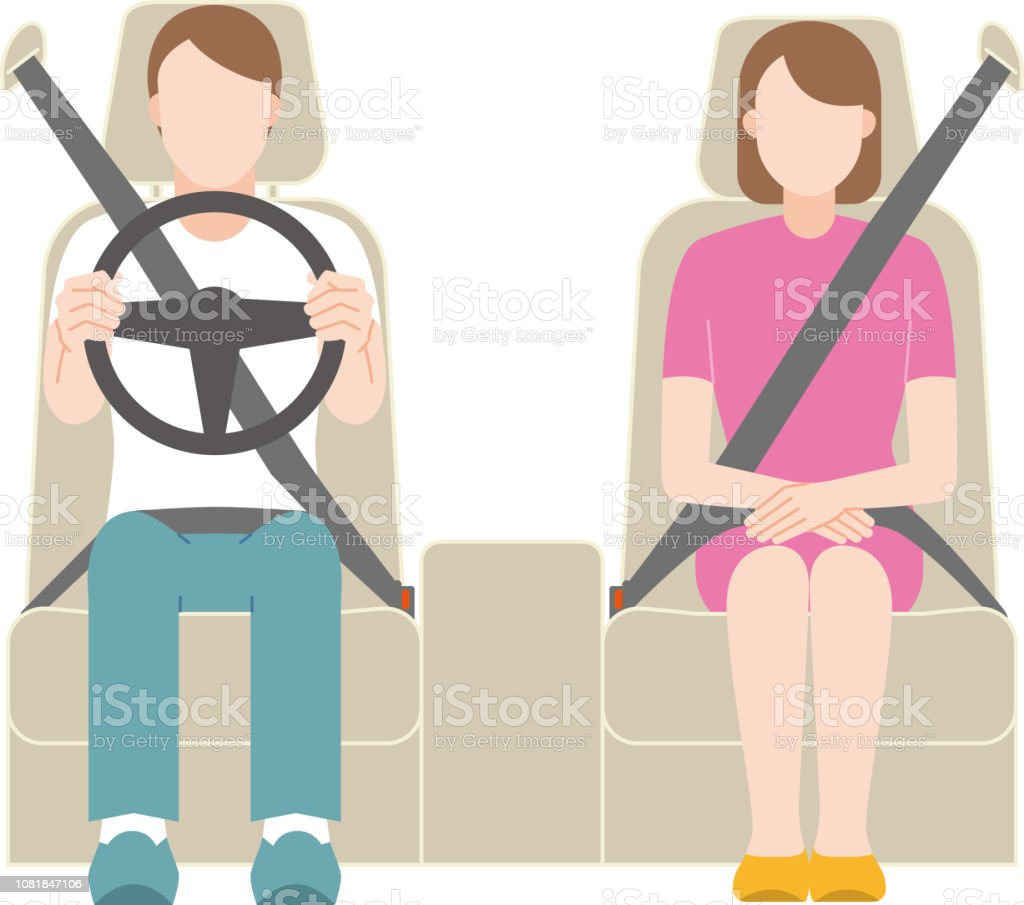 A man driving. A woman sitting in the passenger's seat. vector art illustration