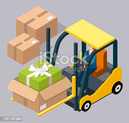 Man driving and controling the forklift illustration, carries a cardboard box with a gift inside. Forklift machine for loading, unloading packages. Yellow industrial truck, storage warehouse equipment
