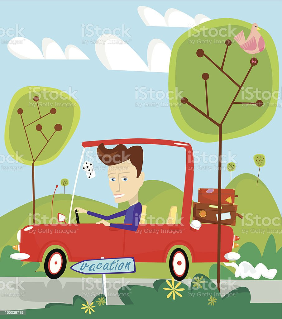 Man driving automobile on roadtrip royalty-free stock vector art