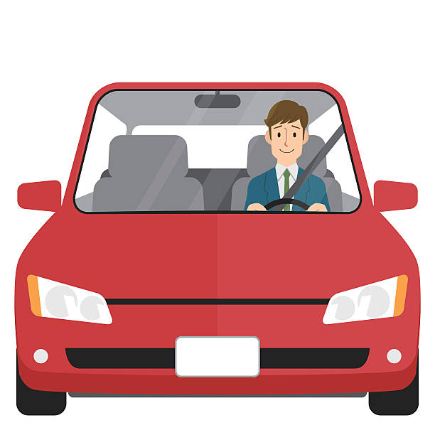 Man driving car vector art illustration