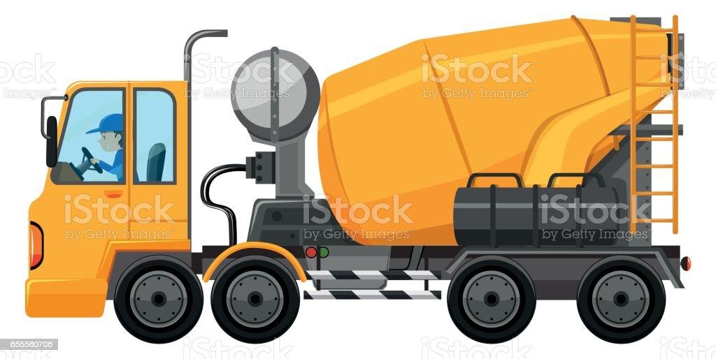 Man driving cement mixer truck vector art illustration