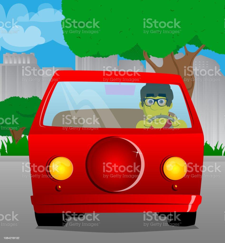 Man driving, holding a steering wheel. vector art illustration