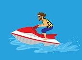 Man driving jet ski on a water
