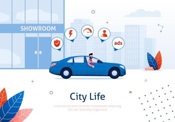 Man fährt neues Auto mit Ikonen aus Showroom – Vektorgrafik