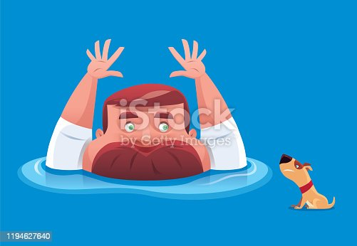 vector illustration of man drowning and waving for help