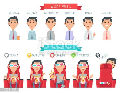 Man during work week. Male face at Monday, Tuesday, Wensday, Thursday, Friday, Sunday. Cinwmaddict. Boy with popcorn at drama, detective, comedy, adventure, horror. Vector