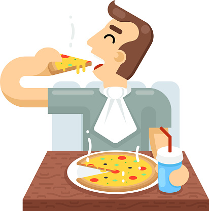 Man Eat Pizza Symbol Icon Concept Isolated Flat Design Vector