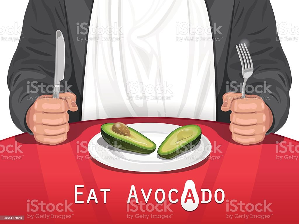 Man eating Avocado vector art illustration