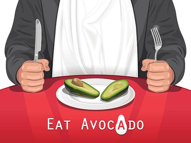 stockillustraties, clipart, cartoons en iconen met man eating avocado - breakfast table