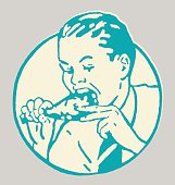 Man Eating Leg of Meat
