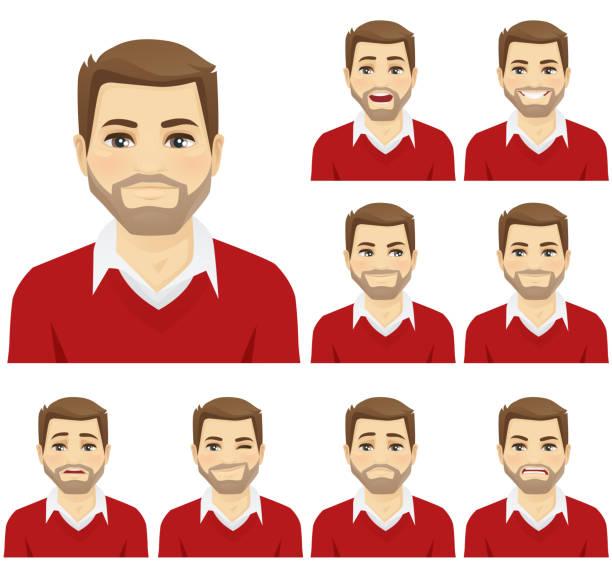 ilustrações, clipart, desenhos animados e ícones de conjunto de emoções do homem - só um homem jovem
